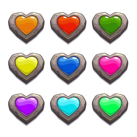 picada: corazones de piedra de la historieta fijados, elementos de diseño de vectores, los activos de colores para la web o el diseño del juego, iconos de la vida interfaz gráfica de usuario, aislados en fondo blanco Vectores