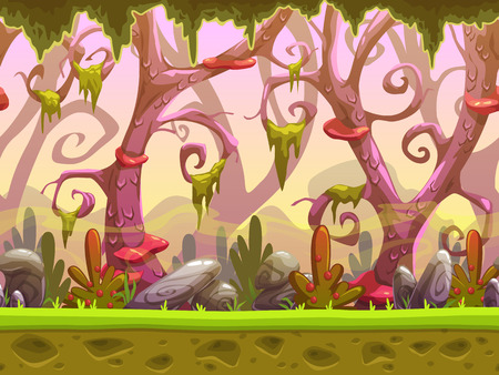 Fantasy cartoon forest seamless landscape, ready for game animation, game background with separated layers for parallax effect, game design asset, cool fantastic nature background