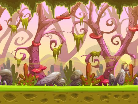 paisaje sin fisuras bosque dibujos animados de fantasía, listo para la animación del juego, juego de fondo con capas separadas para efecto de paralaje, el diseño del juego activo, fresco fantástico fondo de la naturaleza