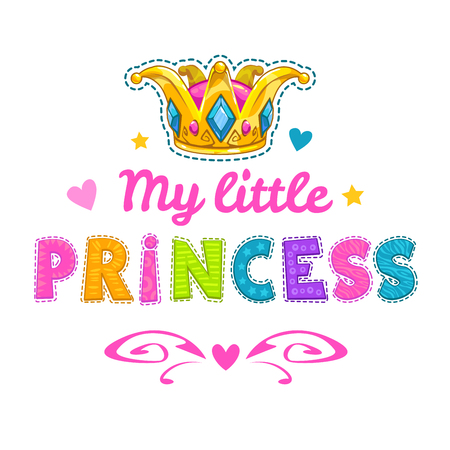 crown: Cute fashion illustration with hearts and golden crown, fancy template for girls t-shirt print, little girl princess fashion slogan on white background