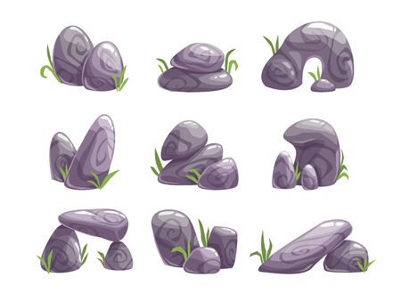 assets: Cartoon gray stones set, different shape rock collection, landscape elements, game location nature assets