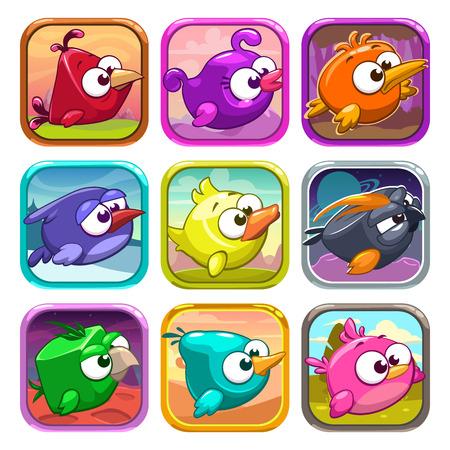 ui: Funny cartoon birds app icons, game ui design elements Illustration