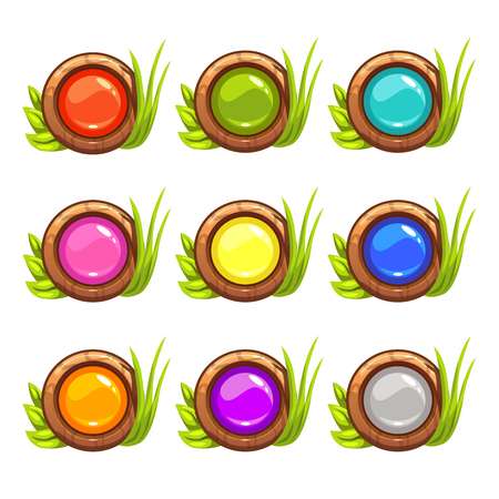 with sets of elements: Cartoon vector round buttons set with colorful middles and nature elements, isolated on white