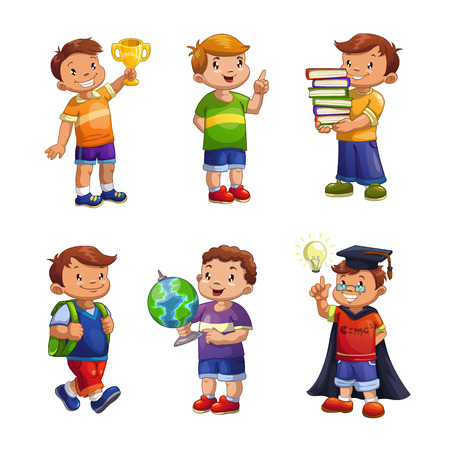 erudite: Cartoon happy children set, standing school boys vector illustration, elementary school pupils isolated on white Illustration