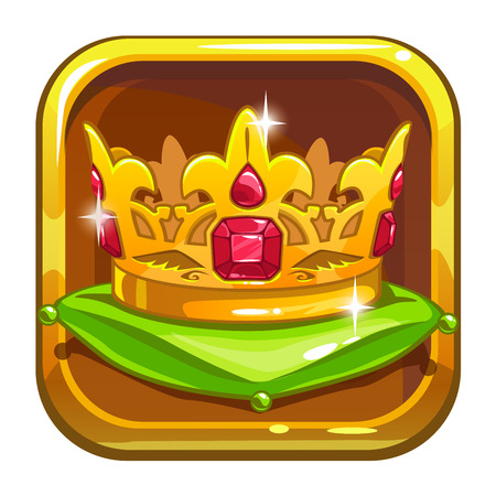 asset: App store icon with golden crown on the green pillow, cartoon asset for game or web design, isolated on white