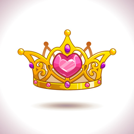 Fancy cartoon vector golden princess crown icon, isolated on white, game trophy asset