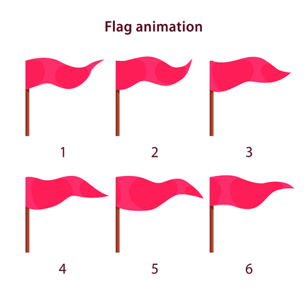 Red triangle shape flag waving animation