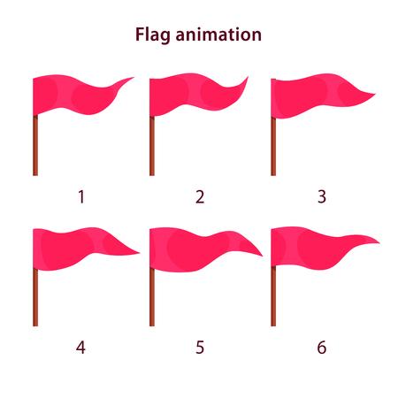 Rode driehoek vorm vlag zwaaien animatie