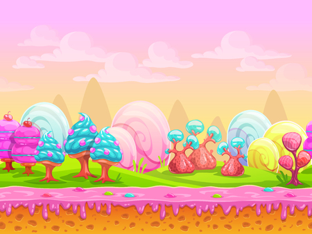 dream land: Cartoon fantasy candy land location, sweet world, seamless background with separated layers for parallax effect in game design, vector illustration