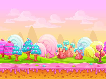 Ubicación de tierra de dulces de fantasía de dibujos animados, mundo dulce, fondo transparente con capas separadas para efecto de paralaje en el diseño del juego, ilustración vectorial