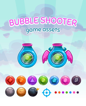 booster: Bubble shooter game assets, vector gui elements kit on cloudy sky background, shoot machines and colorful glossy gem missiles for game development