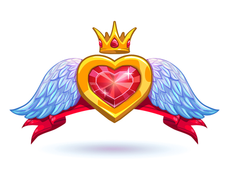 crown wings: Cool ruby heart with golden crown and white wings icon, GUI element, fancy luxury love symbol on white background