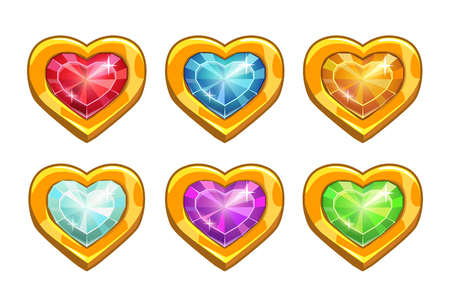 Cartoon golden rare hearts with colorful crystal middles, life icons for game or web design,vector game icons, heart shape buttons set, isolated on white