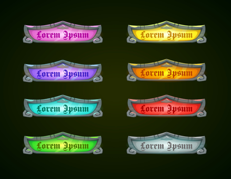 epic: Colorful shiny horizontal game templates on dark background, game assets for epic GUI