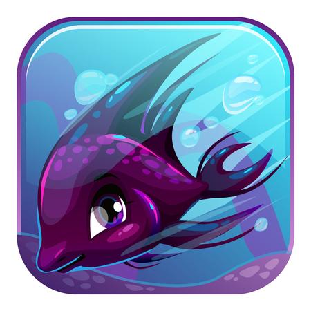 underwater scene: Cute square cartoon app icon for web or web design. Swimming black fish illustration. Application vector design element. Underwater scene.