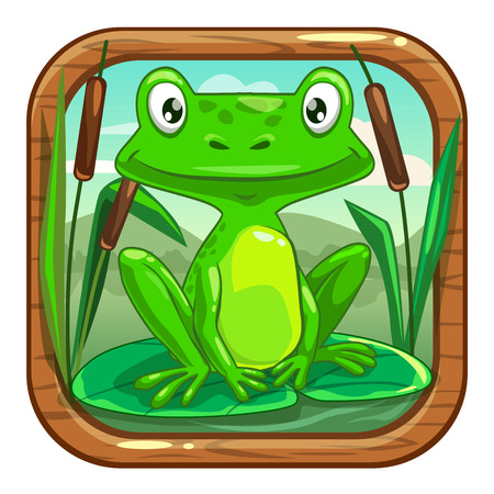 Funny app icon for application store logo with cute cartoon little green frog sitting on the leaf in the swamp. Kids game asset, vector illustration. Illustration
