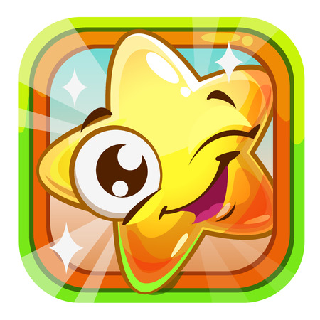 jelly: Funny shiny blinking star character illustration. Cute square cartoon app icon for web or web design. Application vector design element.