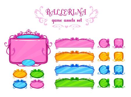 Belle beni ui girlish, elementi di disegno vettoriale per il web o un gioco di sviluppo. Isolati su bianco.