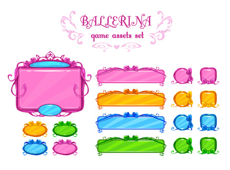 gui: Beautiful girlish ui assets, vector design elements for web or game development. Isolated on white.