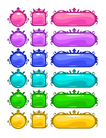 Cartoon colorful buttons for web or game design. Round, square, long oval shapes. Isolated on white.