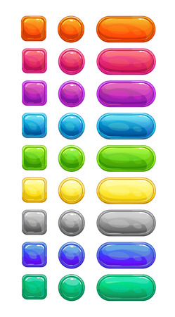 green and purple: Colorful glossy buttons set, vector assets for web or game design, isolated on white Illustration