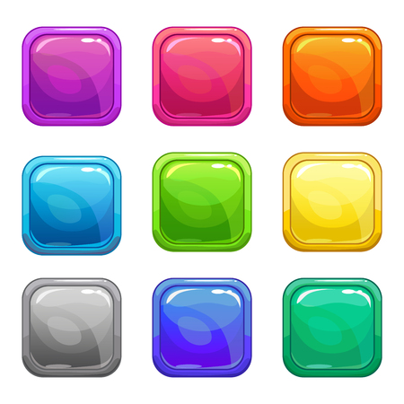 Colorful square glossy buttons set, vector assets for web or game design, isolated on white Illustration