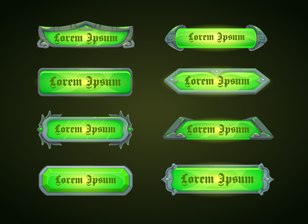 space wars: Horizontal green game templates, vector banners for web or GUI design.