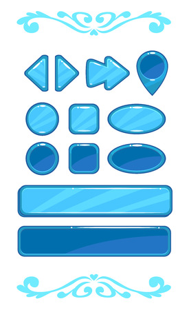 blue buttons: Cute blue vector game user interface, different shape buttons set