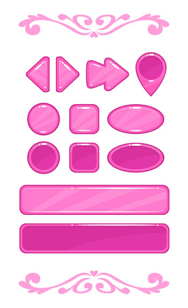 pressed: Cute pink vector game user interface, different shape buttons set