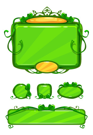 girlish: Beautiful girlish green game user interface including different buttons and information panel. Princess style gui vector assets, isolated on white