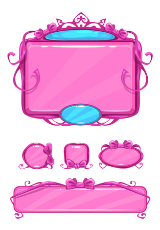 girlish: Beautiful girlish pink game user interface including different buttons and information panel. Princess style gui vector assets, isolated on white