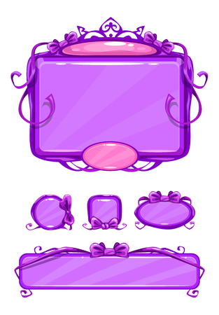 gui: Beautiful girlish violet game user interface including different buttons and information panel. Princess style gui vector assets, isolated on white