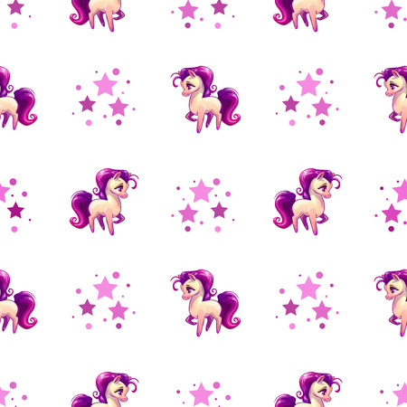 Cute seamless pattern with little cartoon horse and pink stars on white background, vector girlish texture