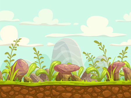 separated: Cartoon seamless nature landscape with ground, stones, grass, hills and cloudy sky. Vector outdoor illustration with separated layers for parallax effect. Game background.