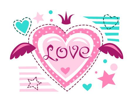 girlish: Cute girlish vector illustration, love concept for girlish t shirt print. Lovely textile design template.