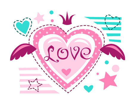 t shirt print: Cute girlish vector illustration, love concept for girlish t shirt print. Lovely textile design template.