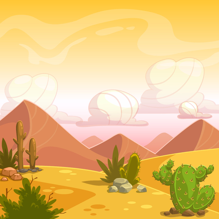 dry land: Cartoon desert landscape with cactuses, stone, sand dunes and cloudy sky. Square vector outdoor illustration. Background for game design. Illustration