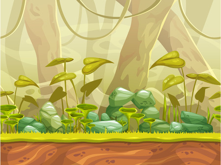 forest landscape: Cartoon seamless nature landscape with separated layers for parallax effect. Vector horizontal jungle illustration, fantasy game background. Illustration