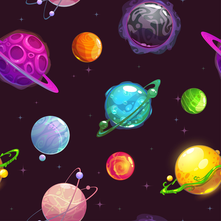 texture fantasy: Seamless pattern with fantasy cartoon planets on the space background, vector cosmos texture