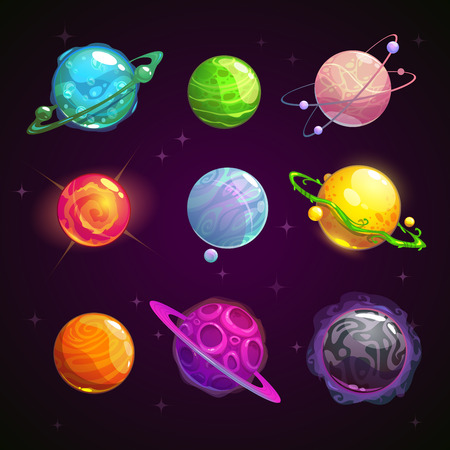 Colorful cartoon fantasy planets set on space background, vector illustration Stock Illustratie