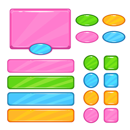 user interface: Cute vector user interface assets set for web or game design. Pink information panel, round, square, oval colorful buttons,long horizontal banners kit, isolated on white. Illustration