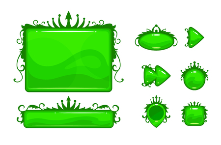 Cartoon green vector abstract game assets set. Decorative environment elements for games or web design. Isolated on white.
