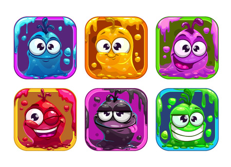 Funny cartoon liquid characters in the frame, square colorful app icons set for game design Vectores