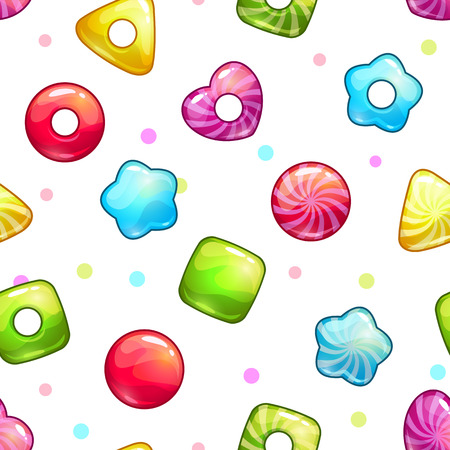 Seamless pattern with colorful glossy lollipops on white background.