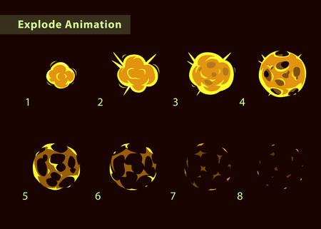 storyboard: Explode effect animation. Cartoon fire ball explosion frames.