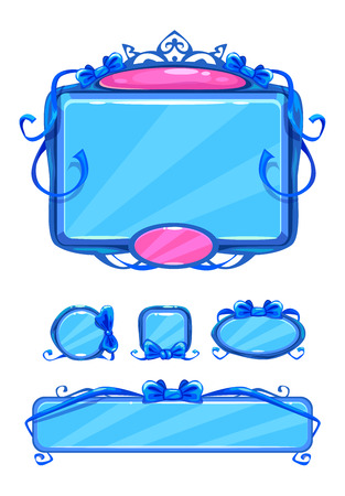 girlish: Beautiful girlish blue game user interface including different buttons and information panel. Princess style gui assets, isolated on white