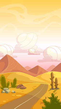 sand dunes: Cartoon desert landscape with cactuses, stone, sand dunes, road and cloudy sky. Illustration