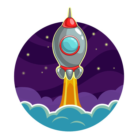 might: Rocket launch into the space, success concept. Vector illustration. Illustration