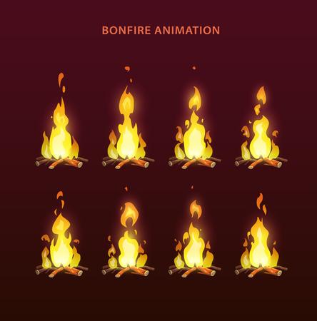 Bonfire animation sprites, vector flame video frames for game design. Fire storyboard.