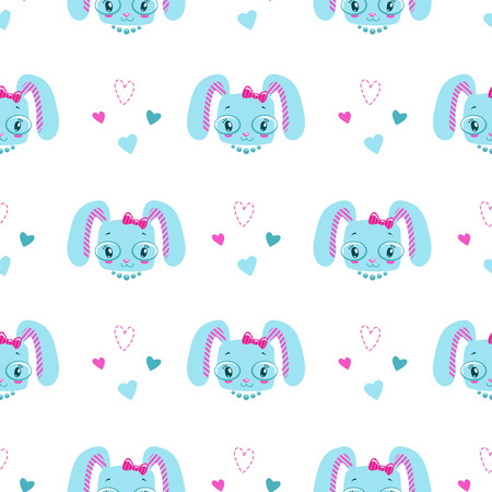girlish: Funny girlish seamless pattern with cute bunny faces and hearts. Vector texture for textile design. Illustration